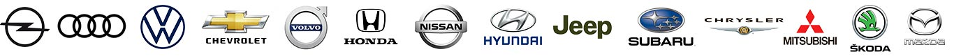 Opel, Auto, VW, Chrysler, Volvo, Honda, Jeep,. Subaru, Skoda, Mitsubishi